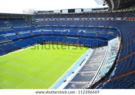 MADRID, SPAIN - AUGUST 25: Santiago Bernabeu Stadium of Real Madrid on August 25, 2012 in Madrid, Spain. Real Madrid C.F. was established in 1902. It is the best club of XX century according to FIFA. - stock photo