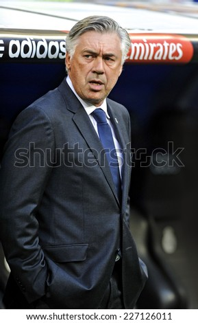MADRID, SPAIN - August 25th, 2014 : CARLO ANCELOTTI Italian coach of REAL MADRID during the La Liga match against Cordoba at Santiago Bernabeu Stadium.  - stock photo