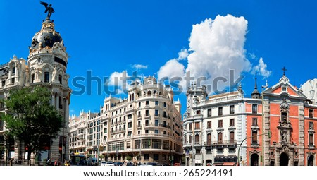 MADRID, SPAIN - AUGUST 29: The Crossing Calle de Alcala and Gran Via in Madrid, Spain. 2013. One of main streets of city - stock photo