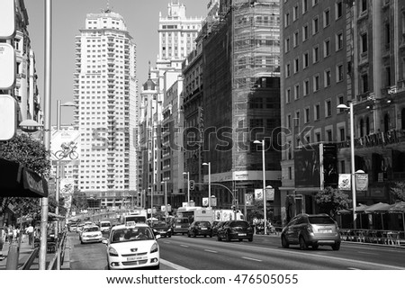 MADRID, SPAIN - AUGUST 31: View of the Gran Via and Madrid Tower on August 31, 2016 in Madrid, Spain.