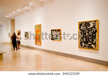 MADRID, SPAIN - AUGUST 26: Visitors in the museum Thyssen-Bornemisza.  The museum remains to one of significant objects in Madrid on August 26, 2014 in Madrid, Spain - stock photo