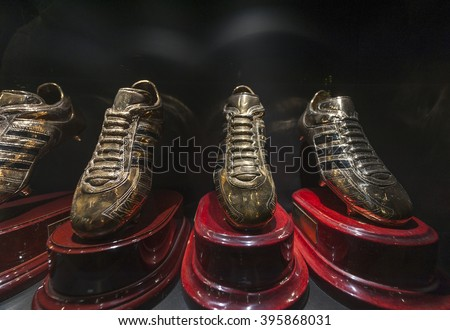 MADRID,SPAIN-CIRCA MARCH 2016: Cristiano Ronaldo's Golden Boots in the FC Real Madrid museum