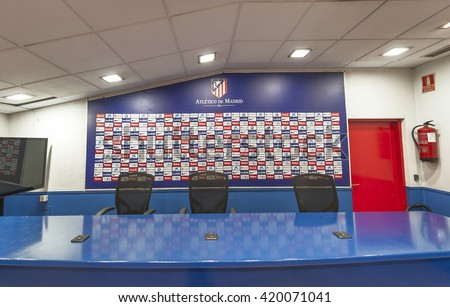 MADRID,SPAIN-CIRCA MARCH 2016: FC Atletico Madrid press-room
