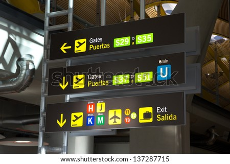 MADRID, SPAIN - FEBRUARY 6: A gate sign at the Barajas airport on February 6, 2013 in Madrid, Spain. Madrid-Barajas is Europe�´s fourth busiest airport serving over 49 million passengers per year. - stock photo