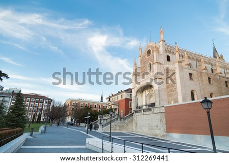 Madrid, Spain - February 21, 2014: St. Geromimo Royal church on a spring day, Madrid, Spain