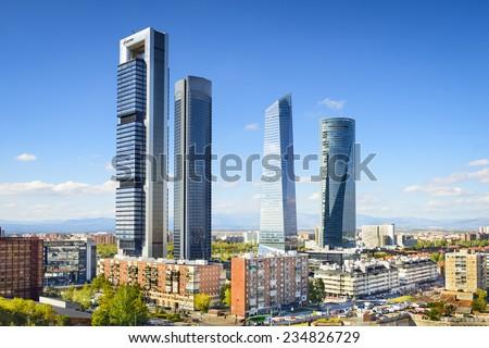 Madrid, Spain financial district skyline. - stock photo