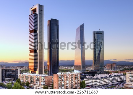 Madrid, Spain financial district skyline at dusk.