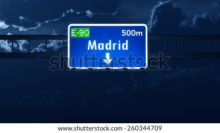 Madrid Spain Highway Road Sign - stock photo