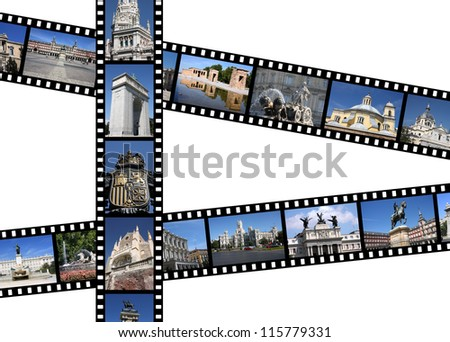 Madrid, Spain. Illustration - film strips with vacation travel memories. All photos taken by me, available also separately. - stock photo