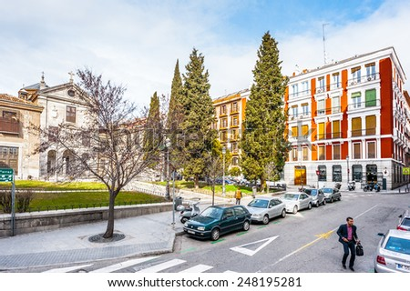 MADRID, SPAIN - JAN 29, 2015: Architecture of the downtown of Madrid, Spain, Madrid is the capital and the largest city of Spain,