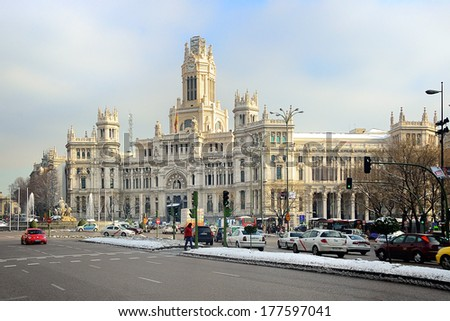 MADRID, SPAIN - JAN 11: The Cibeles Palace, formerly The Palace of Communication, nowadays it's the Madrid City Hall. On January 11, 2010. Madrid, Spain