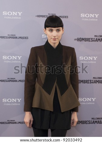 MADRID, SPAIN - JANUARY 04: Actress Rooney Mara presents 'The Girl With The Dragon Tattoo' (Los Hombres Que No Amaban A Las Mujeres) at Villamagna hotel on January 4, 2012 in Madrid, Spain.