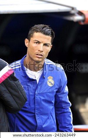 MADRID, SPAIN - January 10th, 2015 : CRISTIANO RONALDO of Real Madrid enters the field during the Spanish La Liga match at Santiago Bernabeu Stadium.  - stock photo