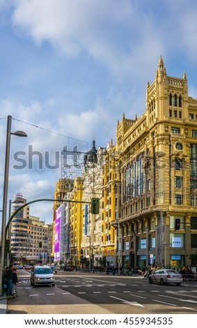 MADRID, SPAIN, JANUARY 9, 2016: view of the gran via boulevard in madrid which is the most famous street of the city