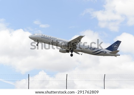 MADRID, SPAIN - JUNE 14th 2015: Aircraft -Airbus A321-211-, of -Air France- airline with Skyteam livery, is taking off from Madrid-Barajas -Adolfo Suarez- airport, on June 14th 2015.
