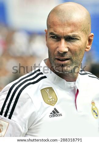 MADRID, SPAIN - June 14th, 2015 : portrait of ZINEDINE ZIDANE former legendary player of Real Madrid during Real Madrid vs Liverpool Legends friendly match at Santiago Bernabeu Stadium - stock photo