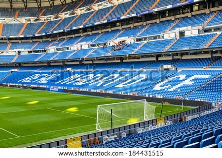 MADRID, SPAIN - MAR 11, 2014: Beautiful modern stadium Santiago Bernabeu stadium. Santiago Bernabeu is a home arena for the Real Madrid Club de Futbol - stock photo