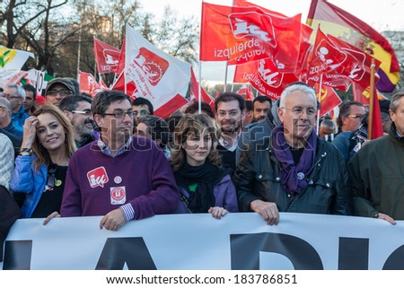 MADRID, SPAIN - MAR 22: IU leaders and Thousands of citizens protest against welfare cuts and the economic crisis in Madrid on March 22, 2014