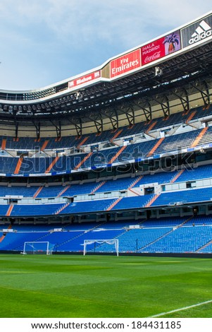 MADRID, SPAIN - MAR 11, 2014: Sight of the Santiago Bernabeu stadium. Santiago Bernabeu is a home arena for the Real Madrid Club de Futbol