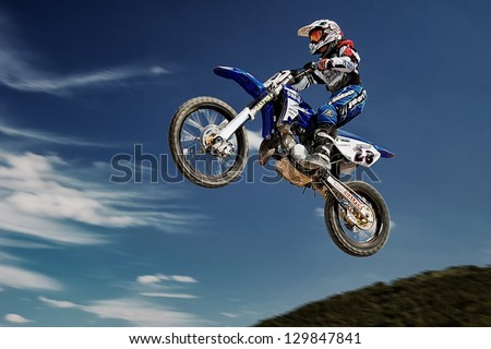 MADRID, SPAIN - MAR 6 : Spanish rider Raul Benito in a Yamaha races in Motocross Madrid Championship, on Mar 6, 2011 in Madrid, Spain - stock photo