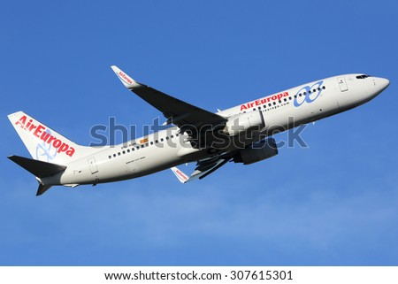 MADRID, SPAIN - MARCH 5:  An Air Europa Boeing 737-800 taking off on March 5, 2015 in Madrid. Air Europa is an airline from Spain with 55 aircraft in operation.
