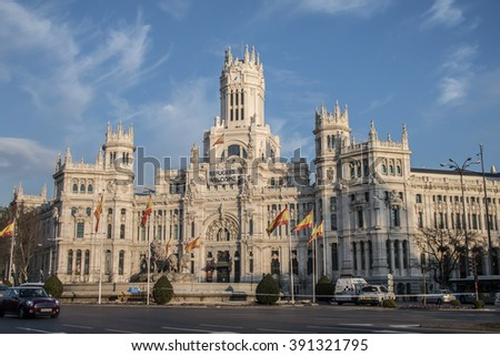 Madrid, Spain - March 15, 2016 - Madrid City Hall building in the city center of Madrid, Spain