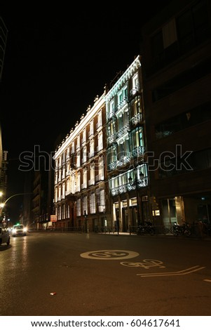MADRID, SPAIN - MARCH 9, 2017: Regus Palace Miraflores, Madrid at night. Madrid is a popular tourist destination of Europe