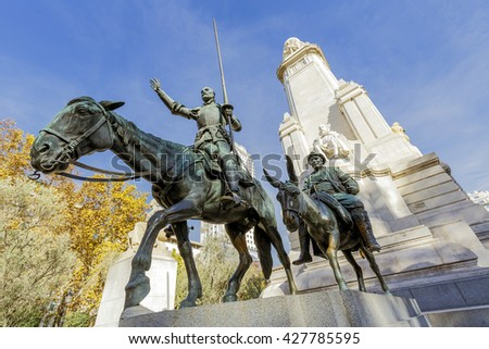 Madrid, Spain - March 28, 2015:  Statues of Don Quixote and Sancho Panza at the Plaza de Espana in Madrid, Spain - stock photo