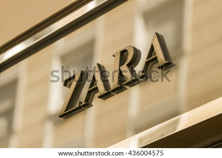 MADRID, SPAIN - MARCH 17, 2016: Zara sign in Madrid. Zara is Spanish clothing and accessories retailer.