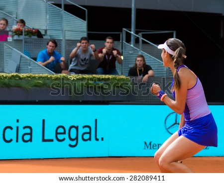 MADRID, SPAIN - MAY 2 :  Ana Ivanovic & her team celebrate a major point at the 2015 Mutua Madrid Open WTA Premier Mandatory tennis tournament - stock photo