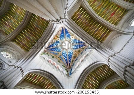 MADRID, SPAIN - MAY 28, 2014: Cathedral Santa Maria la Real de La Almudena in Madrid, Spain. - stock photo