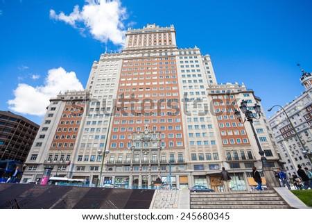 Madrid, Spain - May 6, 2012: Edificio Espana facade view on a sunny spring day in Madrid, Spain. - stock photo
