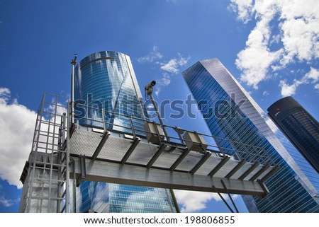 MADRID, SPAIN - MAY 28, 2014: Madrid city, business centre, modern skyscrapers, Cuatro Torres 250 meters high