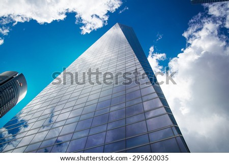 MADRID, SPAIN - MAY 28, 2015: Madrid city business centre, modern skyscrapers, Cuatro Torres - stock photo