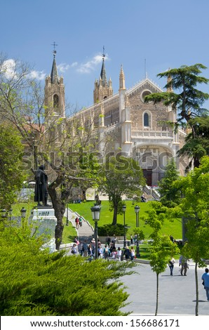 MADRID, SPAIN - MAY 04 2013:  People visit the St. Jerome Royal Church in MADRID, SPAIN on the 04th MAY2013.