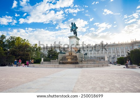 Madrid, Spain - May 10, 2012: Plaza de Oriente with tourists on a spring day in Madrid, Spain