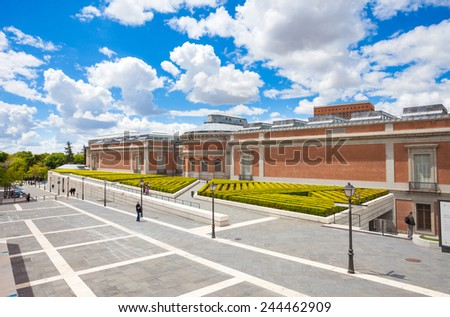 Madrid, Spain - May 6, 2012:  Prado National Art Museum back view on a sunny day in Madrid, Spain - stock photo