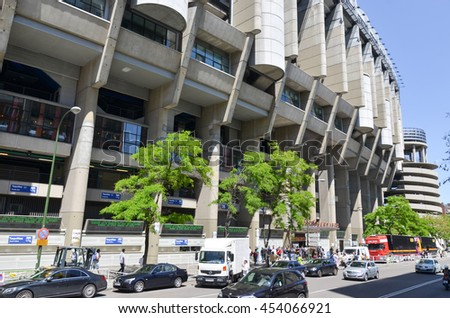 MADRID, SPAIN - MAY 16: Santiago Bernabeu football stadium of Real Madrid on May16, 2016 in Madrid, Spain.