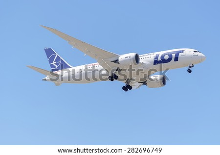 MADRID, SPAIN - MAY 23th 2015: Aircraft -Boeing 787-8 Dreamliner-,of -Air Europa- airline,landing on Madrid-Barajas -Adolfo Suarez- airport,on May 23th 2015.It has been rented to -LOT Polish Airlines-