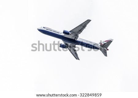MADRID, SPAIN - MAY 3th 2015: Aircraft -Boeing 767-336-, of -British Airways- airline, is taking off from Madrid-Barajas -Adolfo Suarez- airport, on May 3th 2015. - stock photo