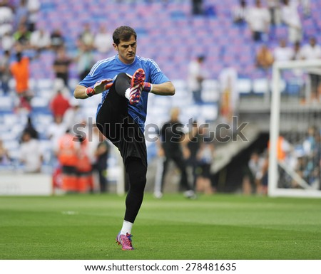 MADRID, SPAIN - May 13th, 2015 :  Goalkeeper IKER CASILLAS of REAL MADRID warms up during Europe Champions League match vs JUVENTUS at Santiago Bernabeu Stadium  - stock photo