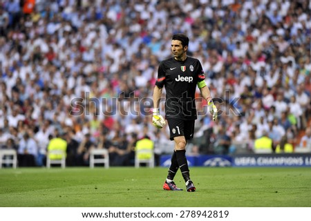 MADRID, SPAIN - May 13th, 2015 :  Italian goalkeeper GIANLUIGI BUFFON of JUVENTUS TORINO in action during Europe Champions League match vs REAL MADRID at Santiago Bernabeu Stadium  - stock photo