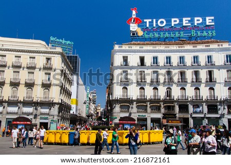 MADRID, SPAIN- MAY 09: The Iconic Tio Pepe sign (1935) of Gonzalez Byass Winery in its new emplacement in La Puerta del Sol square on May 09, 2014 in Madrid, Spain. - stock photo