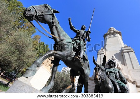 Madrid, Spain - monuments at Plaza de Espana. Famous fictional knight, Don Quixote and Sancho Pansa from Cervantes' story.