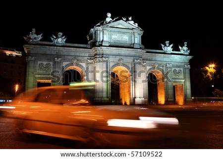 Madrid, Spain. Night scene at Plaza de la Independencia, Puerta de Alaca, famous tourist attraction.