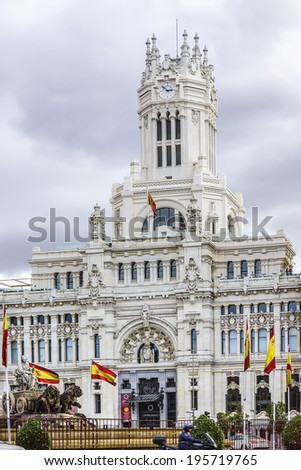 MADRID, SPAIN - NOVEMBER 20, 2013:Cibeles Palace (Palacio de Cibeles, 1993): City Hall of Madrid (formerly Palace of Communication), cultural center of capital and iconic monument of the city.