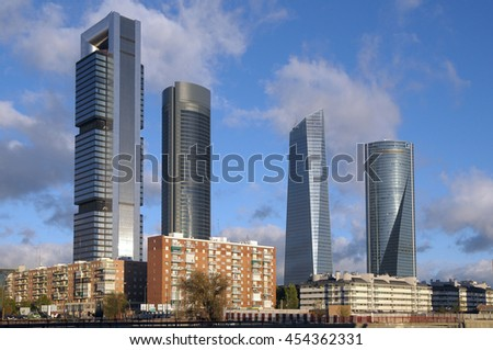 MADRID, SPAIN - NOVEMBER 04, 2009: The four towers of Madrid , skyscrapers in the Chamartin