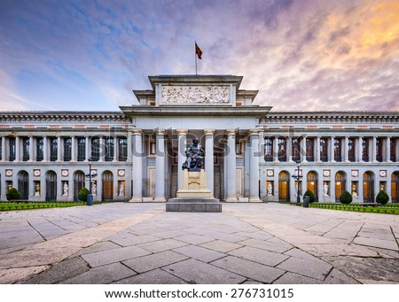 MADRID, SPAIN - NOVEMBER 18, 2014: The Prado Museum facade. Established in 1819, the museum is considered the best collection of Spanish art and one of the world's finest collections of European art. - stock photo