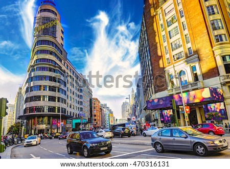MADRID, SPAIN - November 8, 2015: View Gran Via - one of the main streets on November 8, 2015 in Madrid