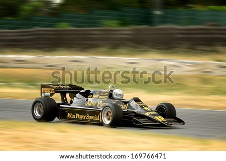 MADRID, SPAIN - OCT 30 : British driver Greg Thornton races in a classic Lotus 92 during the Jarama Vintage Festival, on Oct 30, 2011 in Madrid, Spain. - stock photo